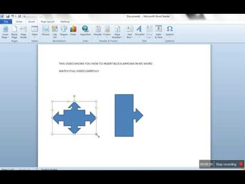 How to insert Block Arrows in MS Word