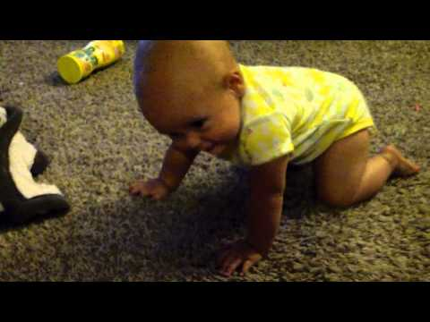 Scarlett learning to crawl on knees 8 months