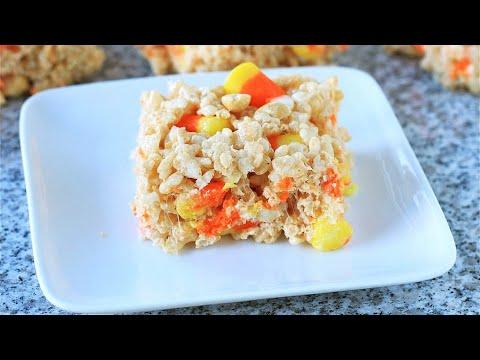 Candy corn Rice Krispie treats🎃👻 Halloween treats. how to make Rice Krispie treats.