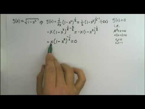 Find the critical values of g(x) = sqrt(1-x^2)