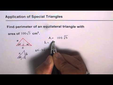 Area of Equilateral Triangle Given Find Perimeter