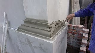 Amazing Construction Rendering Sand And Cement To The Column Foot - Build House Step By Step