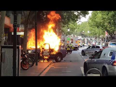 Melbourne Attack - Bourke Street  - Car on Fire