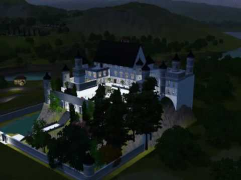 Sims3 Bavarian style castle at night