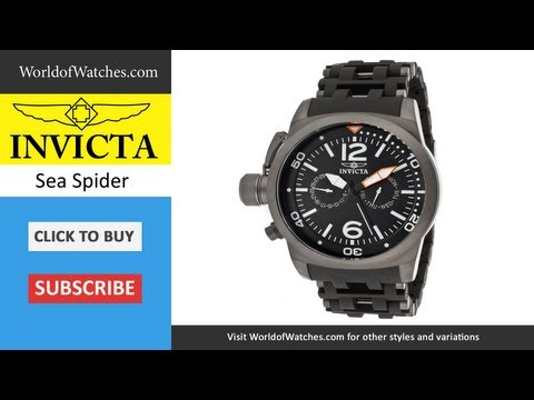 INVICTA  Sea Spider Black Dial Black Polyurethane & Gunmetal Ion Plated Stainless Steel 10776
