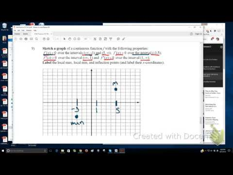 Sketching a graph give properties about first and 2nd derivatives
