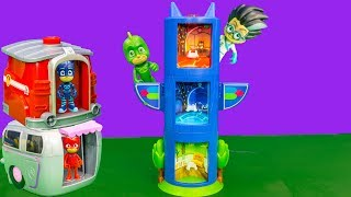 PJ MASK Disney Tranforming Tower Stolen by Romeo with Paw Patrol Pup 2 Hero Station Toy Video