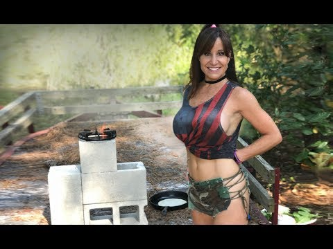 AMAZING tips  for rocket stove survival, prepper tools!  STUNNING woman's concrete block stove.