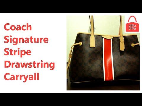 Coach Signature Stripe Drawstring Carryall Satchel 29064