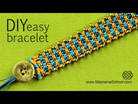 Easy Square Knot Bracelet with Button Clasp and Beads
