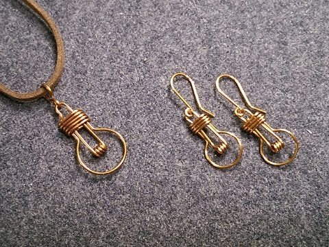 Earrings and pendants light bulb - handcrafted copper jewelry 231