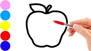 Drawing fruits : apple, peach, banana, pear and coloring for kids toddlers | Sunny Colours ☆