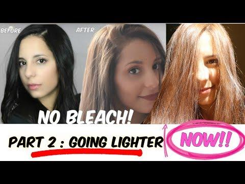 DIY Lighten Dark Hair WITHOUT Added Bleach! PART TWO! Going lighter!
