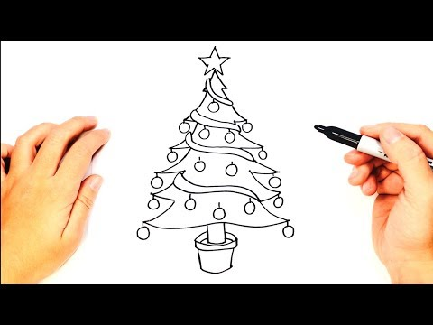 How to draw a Christmas Tree | Christmas Tree Easy Draw Tutorial