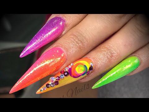Acrylic nails - coloured ombré neon set with 3d flowers