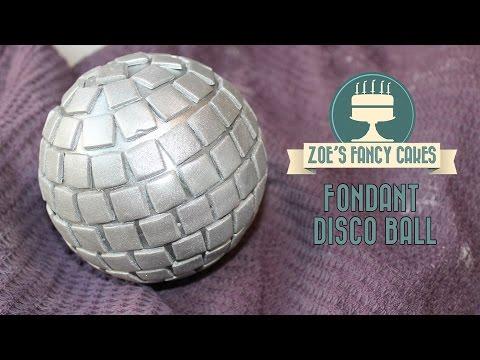 Fondant disco ball cake topper for 70s cake decorating tutorial