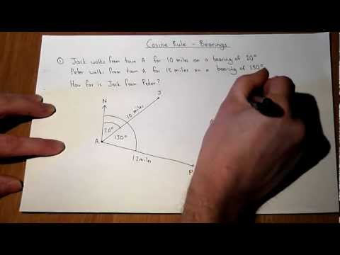 Cosine Rule and Bearing Problem - GCSE and a-level revision video