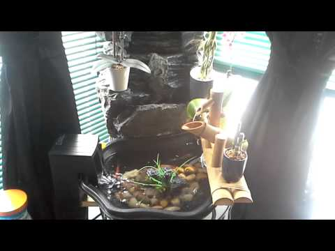 Mini indoor fish pond with waterfall and fountain.