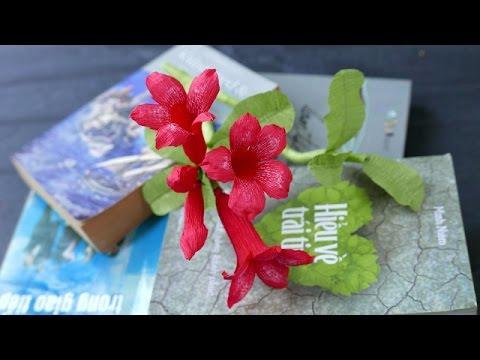 DIY - Craft tutorial - How to make paper Plumeria flower - by crepe paper - Làm hoa sứ giấy nhún