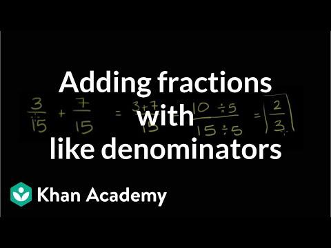 Adding fractions with like denominators | Fractions | Pre-Algebra | Khan Academy