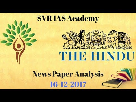 The Hindu Newspaper Analysis - 16-12-2017