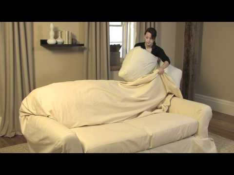 How to Drape a Loose-Fit Separate Seat Sofa Slipcover | Pottery Barn