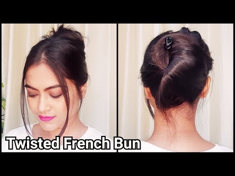 1 Min TWISTED FRENCH Bun for long hair//Everyday easy Running Late hairstyles for girls
