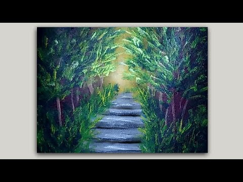 Sponge Painting a Tropical Forest Path with Acrylic Paint
