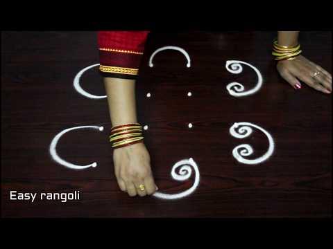 how to draw simple rangoli art designs with dots || simple kolam designs || easy muggulu rangoli