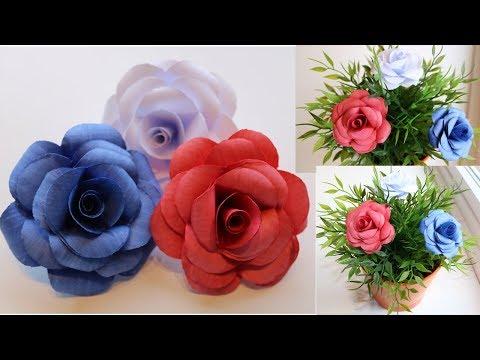 DIY Beautiful Paper Roses using Printer  Paper  - Handmade Paper Crafts
