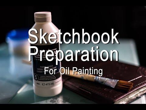 Preparing my sketchbook journal for oil painting