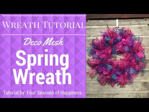 Spring wreath, deco mesh spring wreath, deco mesh wreath, pink, purple, teal deco mesh wreath