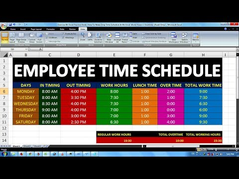Exercise 06   Excel Practice Book   How To Make Emp Time Schedule In Ms Excel  Work Hours + Overtime