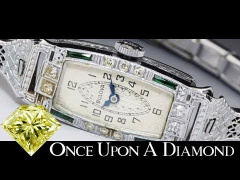Art Deco 1920s Bulova Ladies Diamond Watch in 14K White Gold Shreveport Antique Jewelry