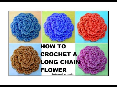 How to crochet a long chain flower, trims and embellishments, applique