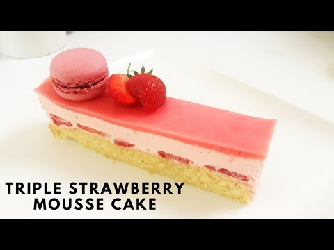 How to make Strawberry Mousse Cake 草莓慕斯蛋糕