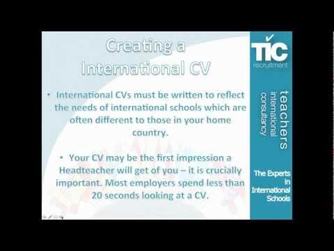 Creating an International teaching CV