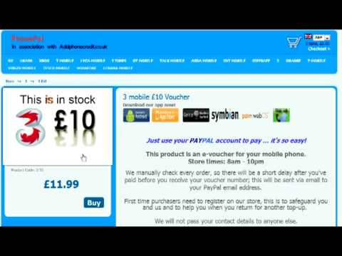3 mobile TOP Up with PAYPAL,  buy phone credit voucher number with paypal