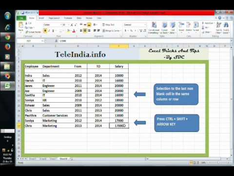 Excel Without using Mouse -Cell Selection