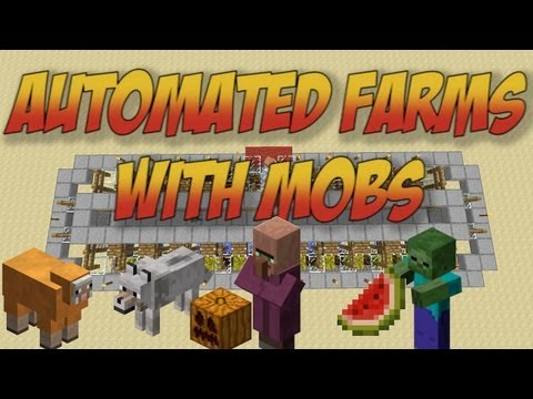 Minecraft Tutorial: Mob Powered Pumpkin & Melon Farm - Fast and Efficient