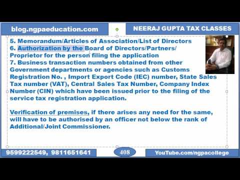Service tax procedures - registration, input service distributor, invoice, consignment note