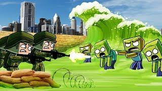 Minecraft | ZOMBIE TSUNAMI BASE CHALLENGE - Tsunami Destroys City! (Virus Tsunami)