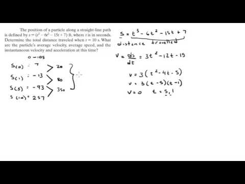 Find the average velocity, average speed, and the instantaneous velocity and acceleration