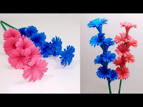 How to Make Beautiful Paper Stick Flower   DIY Hand Craft Ideas for Room   Jarine's Crafty Creation