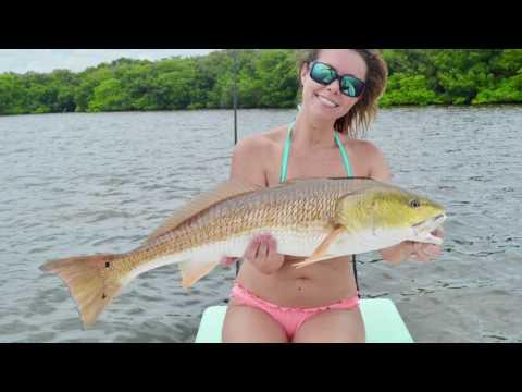 AshSLAY catching Redfish in Tampa, FL