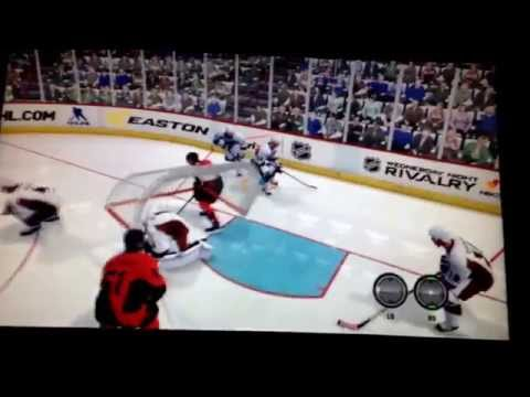 Nhl 14 hitting the goalie with is own net! Lol funny xbox live