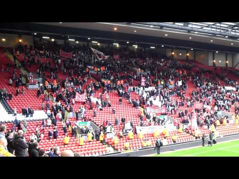 Liverpool fans protesting at Anfield after Blackpool game on October 3, 2010