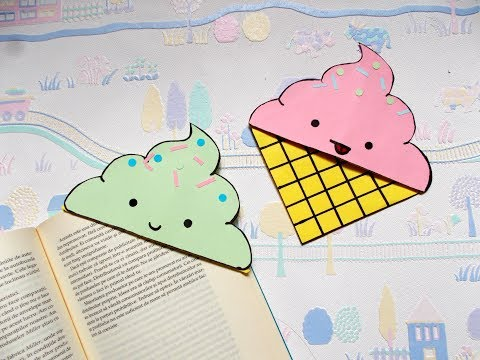 DIY Icecream bookmark corners | Back to school supplies | Paper crafts | Summer crafts | Origami