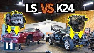 Build & Battle 3: Honda K24 vs Chevy LS V8 Engine Build-off for Gymkhana GRID EP.3
