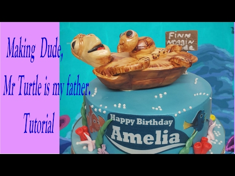 Making  Dude, Mr Turtle is my father.Tutorial from rice crispy treats & Gumpaste